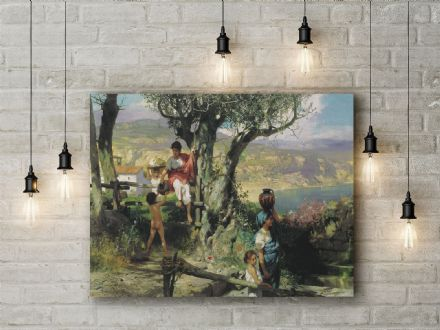 Siemiradzki: In a Village. Fine Art Canvas.